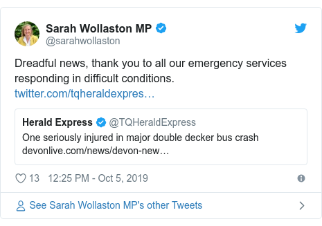 Twitter post by @sarahwollaston: Dreadful news, thank you to all our emergency services responding in difficult conditions.
