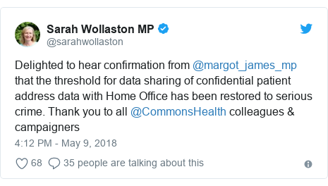 Twitter post by @sarahwollaston: Delighted to hear confirmation from @margot_james_mp that the threshold for data sharing of confidential patient address data with Home Office has been restored to serious crime. Thank you to all @CommonsHealth colleagues & campaigners