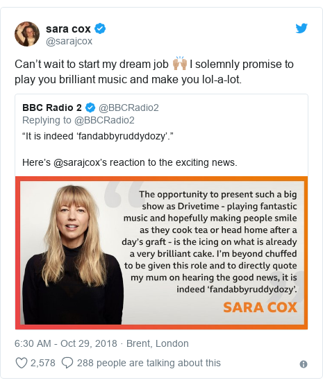 Twitter post by @sarajcox: Can't wait to start my dream job 🙌🏽 I solemnly promise to play you brilliant music and make you lol-a-lot.