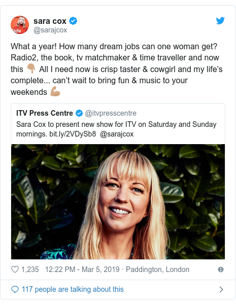 Twitter post by @sarajcox: What a year! How many dream jobs can one woman get? Radio2, the book, tv matchmaker & time traveller and now this 👇🏽 All I need now is crisp taster & cowgirl and my life's complete... can't wait to bring fun & music to your weekends 💪🏽