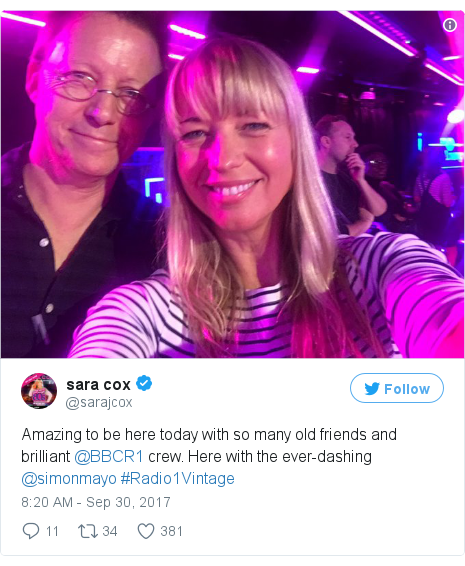 Twitter post by @sarajcox: Amazing to be here today with so many old friends and brilliant @BBCR1 crew. Here with the ever-dashing @simonmayo #Radio1Vintage pic.twitter.com/ghsjaPGtew