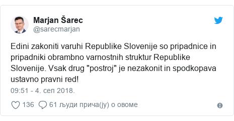 """Twitter post by @sarecmarjan: Edini zakoniti varuhi Republike Slovenije so pripadnice in pripadniki obrambno varnostnih struktur Republike Slovenije. Vsak drug """"postroj"""" je nezakonit in spodkopava ustavno pravni red!"""