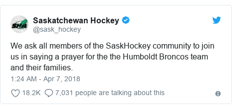 Twitter post by @sask_hockey: We ask all members of the SaskHockey community to join us in saying a prayer for the the Humboldt Broncos team and their families.