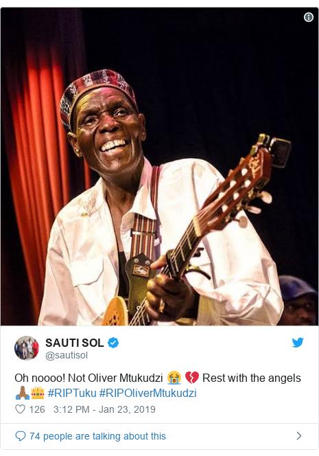 Ujumbe wa Twitter wa @sautisol: Oh noooo! Not Oliver Mtukudzi 😭 💔 Rest with the angels 🙏🏾👑 #RIPTuku #RIPOliverMtukudzi