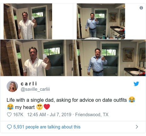 Twitter post by @saville_carliii: Life with a single dad, asking for advice on date outfits 😂😂 my heart 🥺❤️