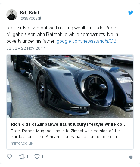 Twitter pesan oleh @sayedsdt: Rich Kids of Zimbabwe flaunting wealth include Robert Mugabe's son with Batmobile while compatriots live in poverty under his father.