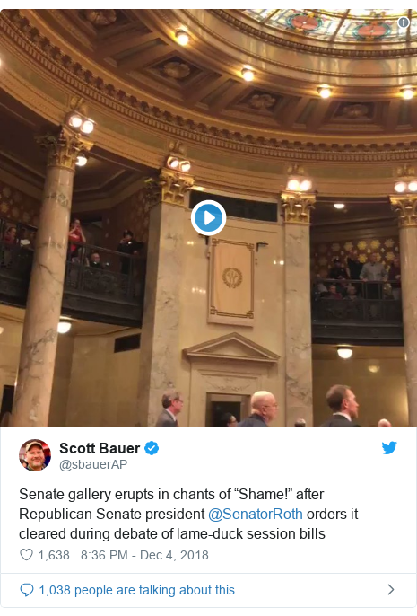 """Twitter post by @sbauerAP: Senate gallery erupts in chants of """"Shame!"""" after Republican Senate president @SenatorRoth orders it cleared during debate of lame-duck session bills"""