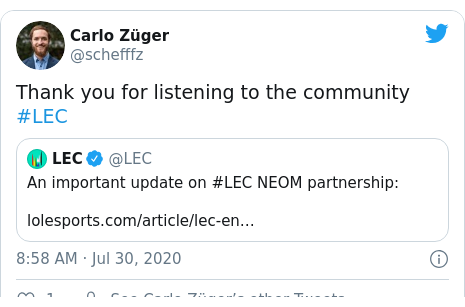 Twitter post by @schefffz: Thank you for listening to the community #LEC
