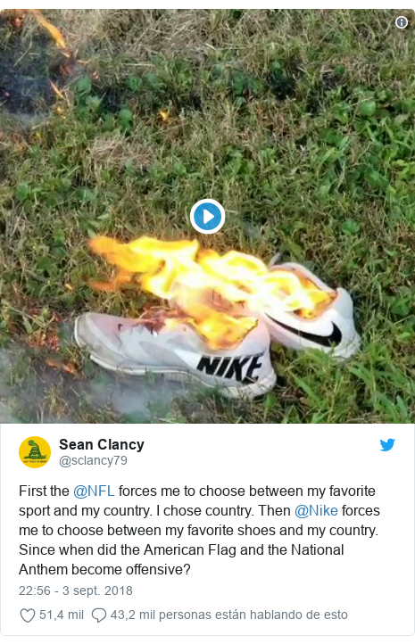 Publicación de Twitter por @sclancy79: First the @NFL forces me to choose between my favorite sport and my country. I chose country. Then @Nike forces me to choose between my favorite shoes and my country. Since when did the American Flag and the National Anthem become offensive?