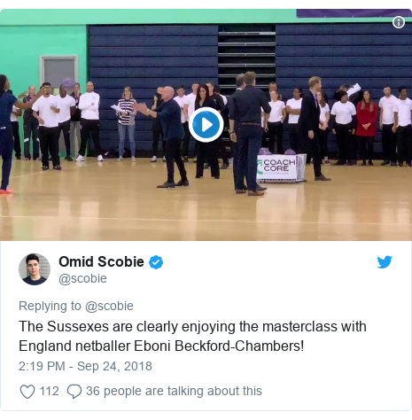 Twitter post by @scobie: The Sussexes are clearly enjoying the masterclass with England netballer Eboni Beckford-Chambers!