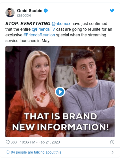 Twitter post by @scobie: 𝙎𝙏𝙊𝙋. 𝙀𝙑𝙀𝙍𝙔𝙏𝙃𝙄𝙉𝙂.@hbomax have just confirmed that the entire @FriendsTV cast are going to reunite for an exclusive #FriendsReunion special when the streaming service launches in May.