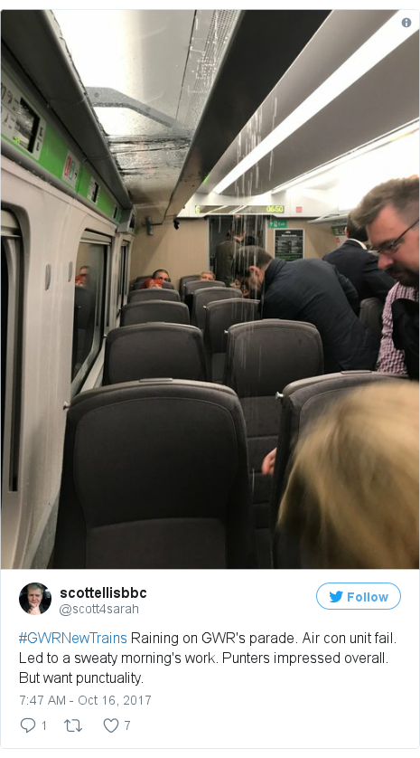 Twitter post by @scott4sarah: #GWRNewTrains Raining on GWR's parade. Air con unit fail. Led to a sweaty morning's work. Punters impressed overall. But want punctuality.
