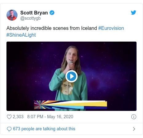 Twitter post by @scottygb: Absolutely incredible scenes from Iceland #Eurovision #ShineALight