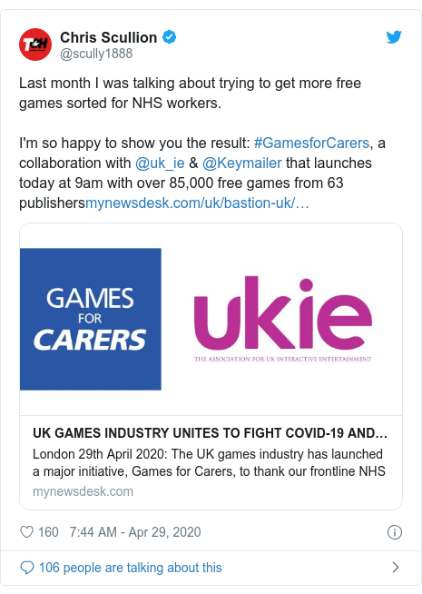 Twitter post by @scully1888: Last month I was talking about trying to get more free games sorted for NHS workers.I'm so happy to show you the result  #GamesforCarers, a collaboration with @uk_ie & @Keymailer that launches today at 9am with over 85,000 free games from 63 publishers