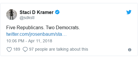 Twitter post by @sdkstl: Five Republicans. Two Democrats.