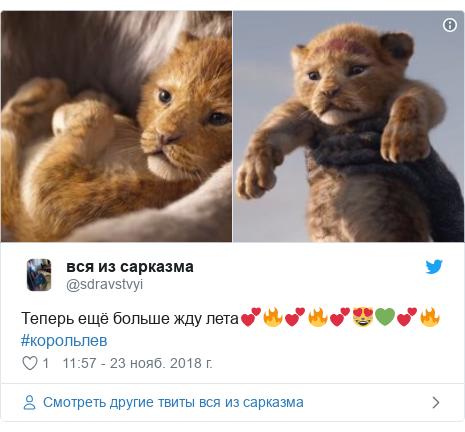 Twitter пост, автор: @sdravstvyi: Теперь ещё больше жду лета💕🔥💕🔥💕😻💚💕🔥 #корольлев