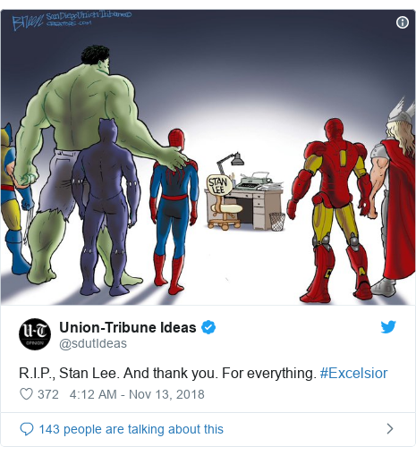 Twitter post by @sdutIdeas: R.I.P., Stan Lee. And thank you. For everything. #Excelsior