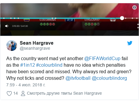 Twitter пост, автор: @seanhargrave: As the country went mad yet another @FIFAWorldCup fail as the #1in12 #colourblind have no idea which penalties have been scored and missed. Why always red and green? Why not ticks and crossed? @itvfootball @colourblindorg