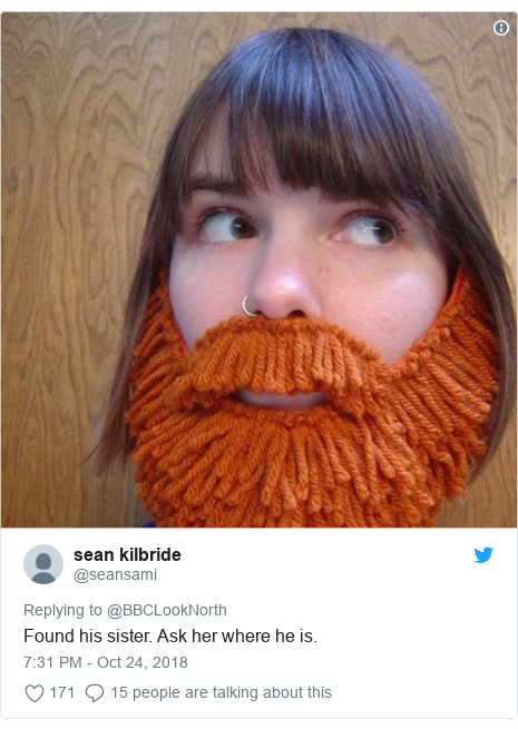 Twitter post by @seansami: Found his sister. Ask her where he is.