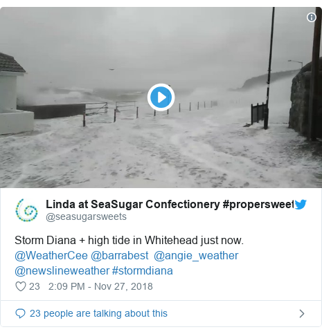 Twitter post by @seasugarsweets: Storm Diana + high tide in Whitehead just now. @WeatherCee @barrabest  @angie_weather @newslineweather #stormdiana