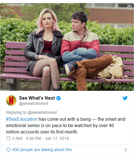 Twitter post by @seewhatsnext: #SexEducation has come out with a bang — the smart and emotional series is on pace to be watched by over 40 million accounts over its first month
