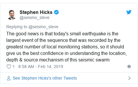 Twitter post by @seismo_steve: The good news is that today's small earthquake is the largest event of the sequence that was recorded by the greatest number of local monitoring stations, so it should give us the best confidence in understanding the location, depth & source mechanism of this seismic swarm