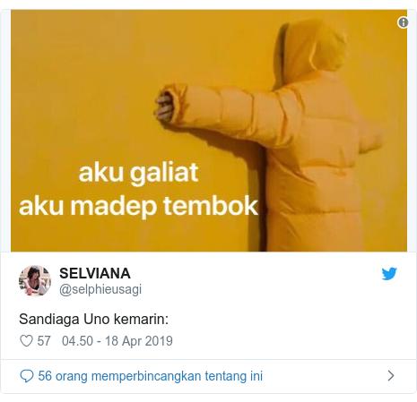 Twitter pesan oleh @selphieusagi: Sandiaga Uno kemarin