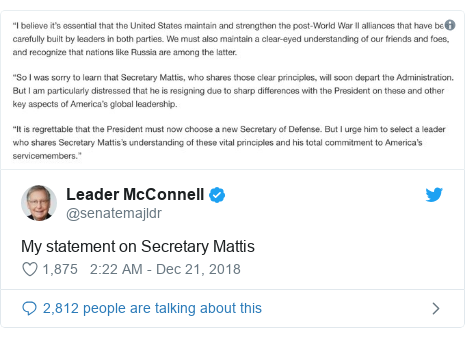 Twitter post by @senatemajldr: My statement on Secretary Mattis