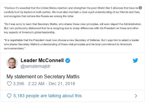 Twitter post by @senatemajldr: My statement on Secretary Mattis