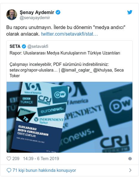 """@senayaydemir tarafından yapılan Twitter paylaşımı: Bu raporu unutmayın. İlerde bu dönemin """"medya andıcı"""" olarak anılacak."""