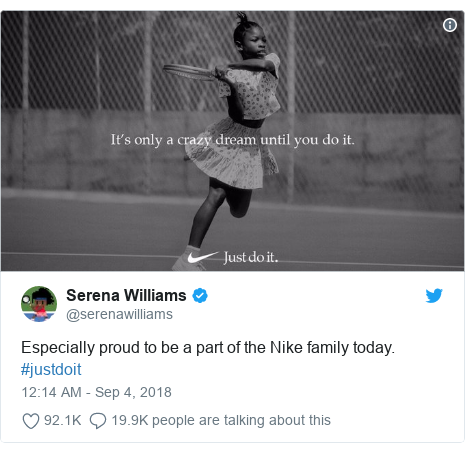 Twitter post by @serenawilliams: Especially proud to be a part of the Nike family today. #justdoit