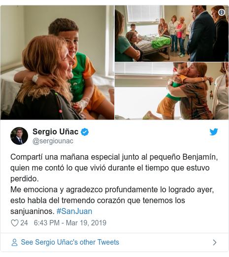 Twitter post by @sergiounac: Compartí una mañana especial junto al pequeño Benjamín, quien me contó lo que vivió durante el tiempo que estuvo perdido. Me emociona y agradezco profundamente lo logrado ayer, esto habla del tremendo corazón que tenemos los sanjuaninos. #SanJuan
