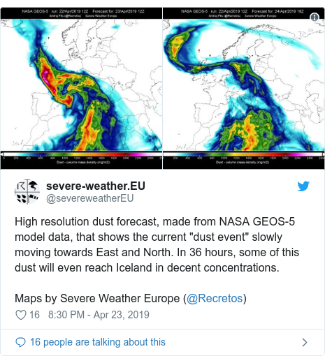 """Twitter post by @severeweatherEU: High resolution dust forecast, made from NASA GEOS-5 model data, that shows the current """"dust event"""" slowly moving towards East and North. In 36 hours, some of this dust will even reach Iceland in decent concentrations.Maps by Severe Weather Europe (@Recretos)"""