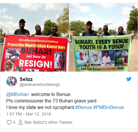 Twitter post by @sewuesebumkengs: @MBuhari  welcome to Benue.Pls commissioner the 73 Buhari grave yard.I love my state we not sycophant.#Benue #PMBinBenue