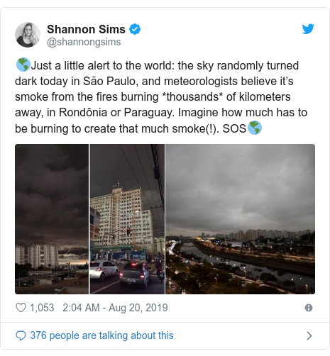 Twitter post by @shannongsims: 🌎Just a little alert to the world  the sky randomly turned dark today in São Paulo, and meteorologists believe it's smoke from the fires burning *thousands* of kilometers away, in Rondônia or Paraguay. Imagine how much has to be burning to create that much smoke(!). SOS🌎