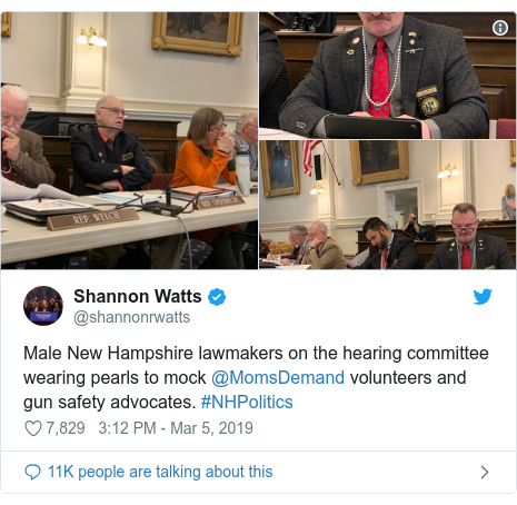 Twitter post by @shannonrwatts: Male New Hampshire lawmakers on the hearing committee wearing pearls to mock @MomsDemand volunteers and gun safety advocates. #NHPolitics