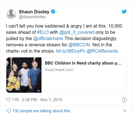 Twitter post by @shaundooley: I can't tell you how saddened & angry I am at this. 10,000 sales ahead of #ELO with @got_it_covered only to be pulled by the @officialcharts This decision disgustingly removes a revenue stream for @BBCCiN  Not in the charts- not in the shops.  @RCARecords
