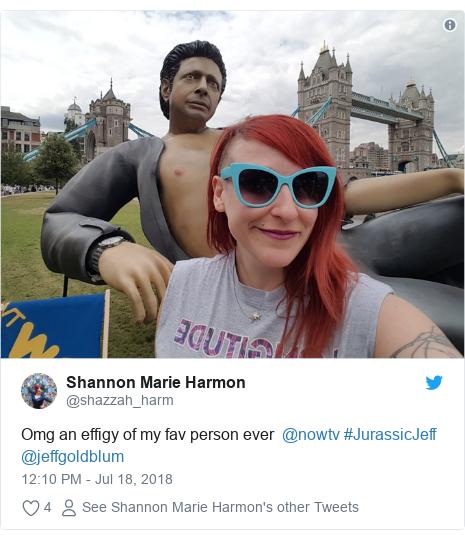 Twitter post by @shazzah_harm: Omg an effigy of my fav person ever  @nowtv #JurassicJeff @jeffgoldblum