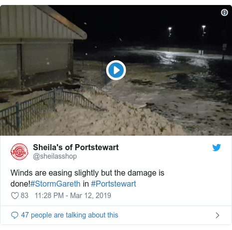 Twitter post by @sheilasshop: Winds are easing slightly but the damage is done!#StormGareth in #Portstewart
