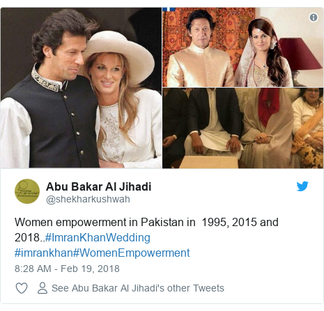 Twitter post by @shekharkushwah: Women empowerment in Pakistan in  1995, 2015 and 2018..#ImranKhanWedding #imrankhan#WomenEmpowerment