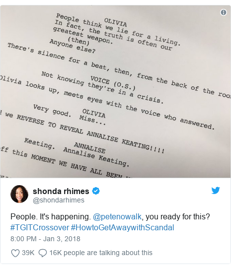 Twitter post by @shondarhimes: People. It's happening. @petenowalk, you ready for this? #TGITCrossover #HowtoGetAwaywithScandal