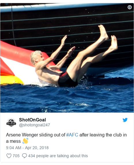 Twitter post by @shotongoal247: Arsene Wenger sliding out of #AFC after leaving the club in a mess 👋