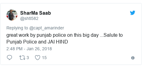 Twitter post by @shtl582: great work by punjab police on this big day ...Salute to Punjab Police and JAI HIND