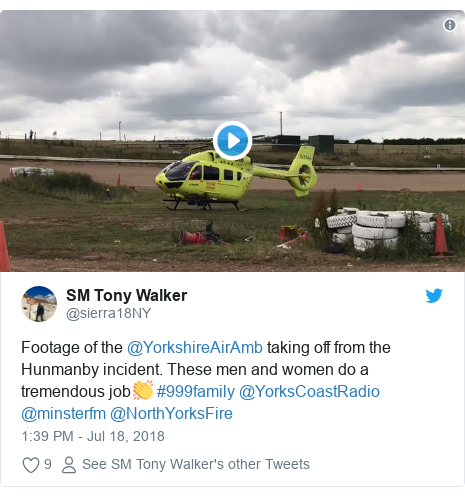 Twitter post by @sierra18NY: Footage of the @YorkshireAirAmb taking off from the Hunmanby incident. These men and women do a tremendous job👏 #999family @YorksCoastRadio @minsterfm @NorthYorksFire