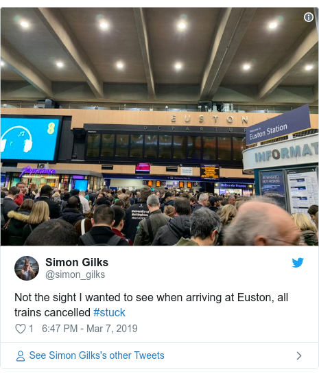 Twitter post by @simon_gilks: Not the sight I wanted to see when arriving at Euston, all trains cancelled #stuck