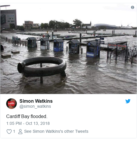 Twitter post by @simon_watkins: Cardiff Bay flooded.