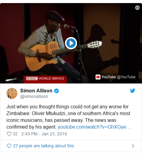 Twitter ubutumwa bwa @simonallison: Just when you thought things could not get any worse for Zimbabwe  Oliver Mtukudzi, one of southern Africa's most iconic musicians, has passed away. The news was confirmed by his agent.