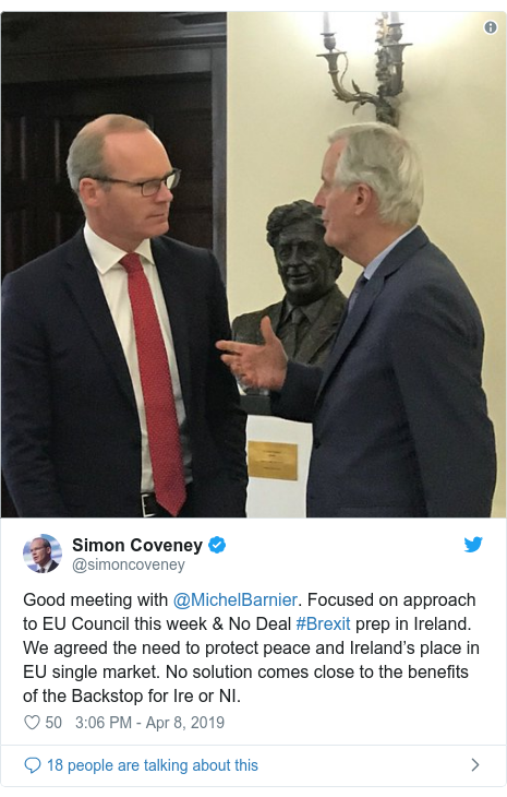 Twitter post by @simoncoveney: Good meeting with ⁦@MichelBarnier⁩. Focused on approach to EU Council this week & No Deal #Brexit prep in Ireland. We agreed the need to protect peace and Ireland's place in EU single market. No solution comes close to the benefits of the Backstop for Ire or NI.