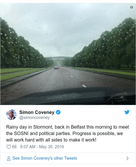 Twitter post by @simoncoveney: Rainy day in Stormont, back in Belfast this morning to meet the SOSNI and political parties. Progress is possible, we will work hard with all sides to make it work!