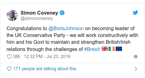 Twitter post by @simoncoveney: Congratulations to @BorisJohnson on becoming leader of the UK Conservative Party - we will work constructively with him and his Govt to maintain and strengthen British/Irish relations through the challenges of #Brexit 🇬🇧🇮🇪🇪🇺